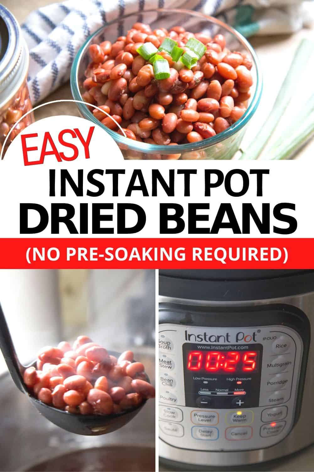 Learn how to make Instant Pot dried beans with no pre-soaking required. Easy and simple to make you will be enjoying delicious beans in no time! via @mystayathome