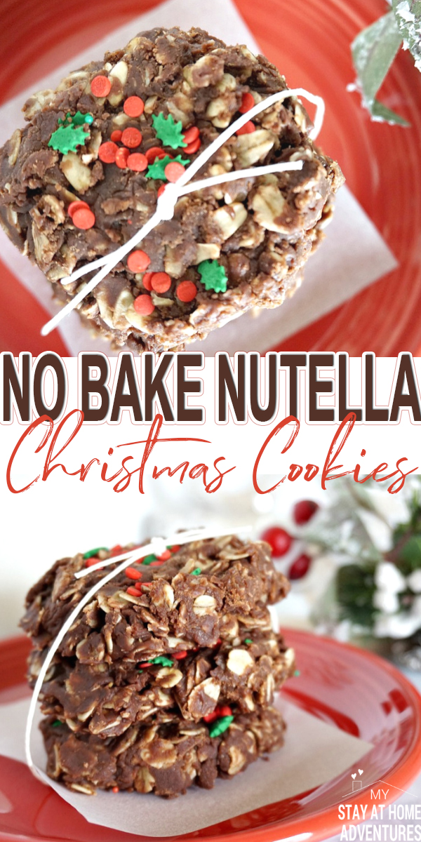 You haven't seen Christmas cookies until you try No Bake Nutella Christmas Cookies! Made with oats and no baking required, enjoy this cookie this holiday. #cookies #nobake #nutella via @mystayathome