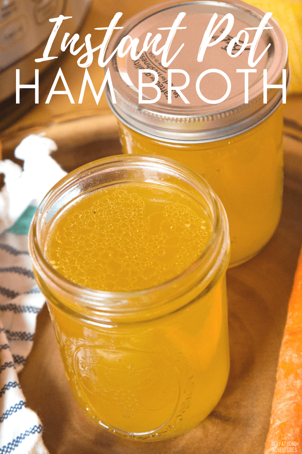 Learn how to make this simple, yet delicious ham broth using your Instant Pot or any other electric pressure cooker. This recipe is also freezer friendly. #instantpot #broth #hambroth via @mystayathome