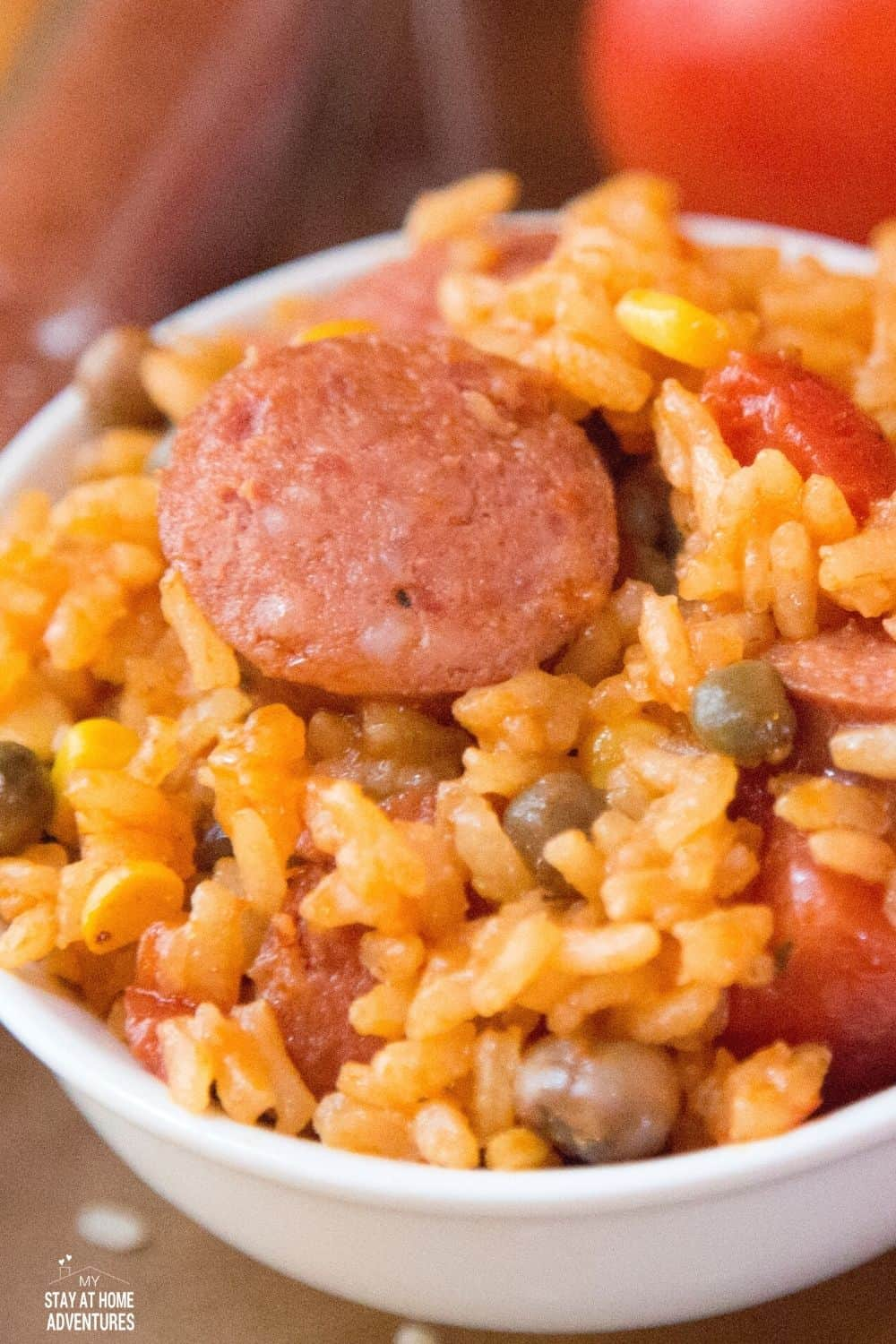 Learn how to make Sausage with Puerto Rican rice with Pigeon peas using an Instant Pot or electric pressure cooker. #puertoricanfood #seasonedrice #instantpotrecipe via @mystayathome