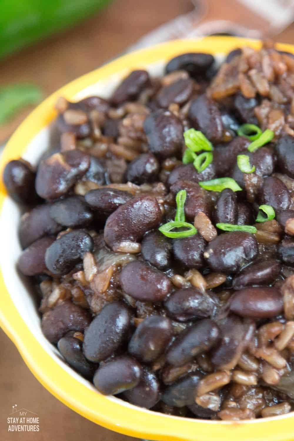 Looking for a meatless or vegan-friendly dinner? Try this Instant Pot Black Beans and Brown Rice Recipe for tonight. Full of flavor and easy to make. #meatless #Instantpot #brownrice #blackbeanrecipe #nomeatrecipe via @mystayathome