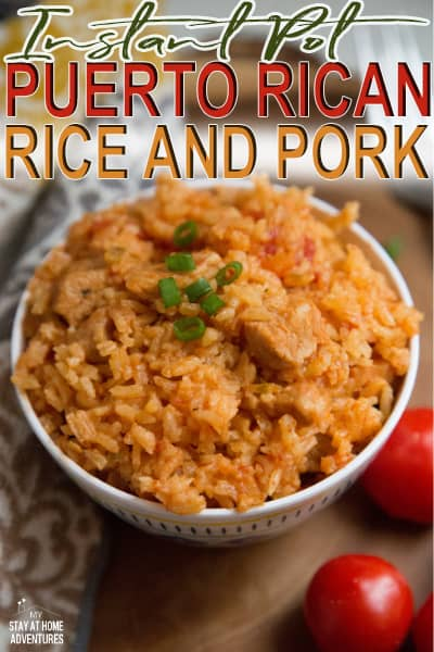 Learn how to make this Instant Pot Puerto Rican Rice and Pork dish. Easy to make and a quick, flavorful family dish you can make tonight.