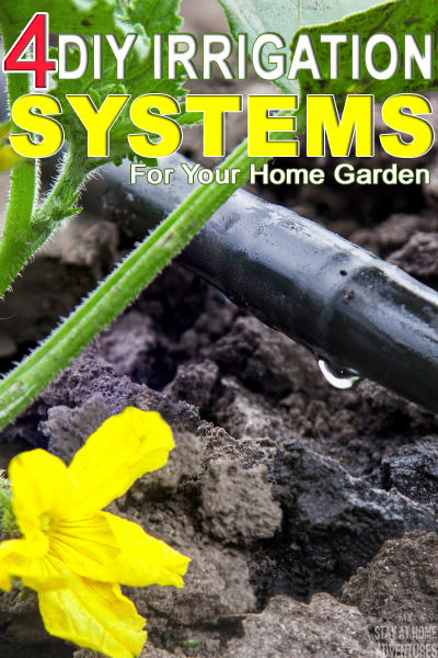 Learn four DIY irrigation systems you can use in your home garden that will save you time and money in your garden. Videos included.