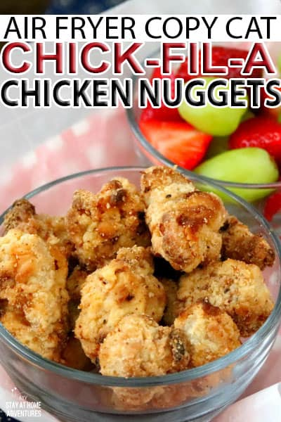 Looking for a delicious air fryer chicken nugget recipe? Learn how to make Air Fryer Copy Cat Chick-fil-A Chicken Nuggets so delicious you're love it. airfryerrecipe #chickenrecipe #chickennugget #copycatrecipe #Airfryerchickenrecipe #chickenrecipe #homemadechickennuggets via @mystayathome