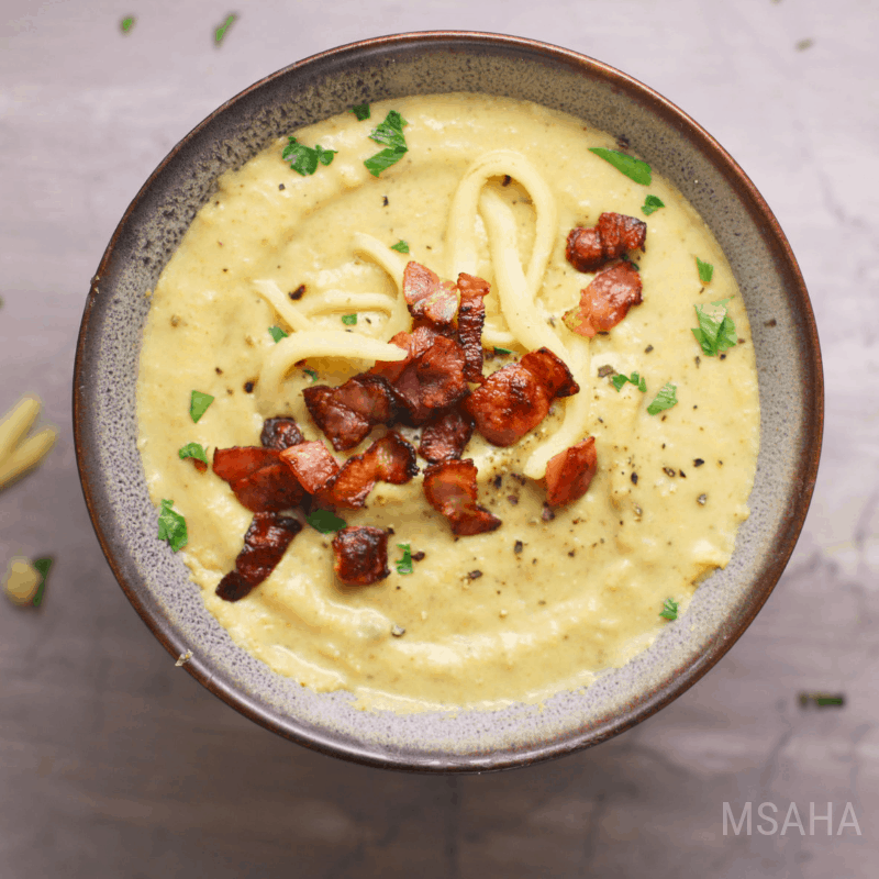 Sweet Creamy Corn Soup Served.  Learn to create Mexican Style Creamy Corn Soup