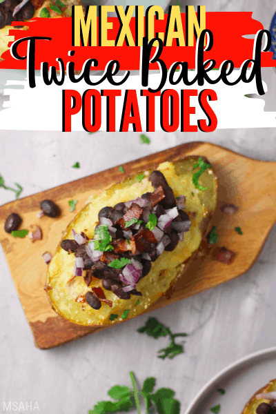 Try this delicious Mexican twice baked potatoes recipe you are going to love. Top this Mexican style baked potatoes with refried beans, Mexican cheese, and more. via @mystayathome