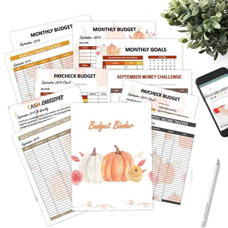 September Monthly Budget Printables