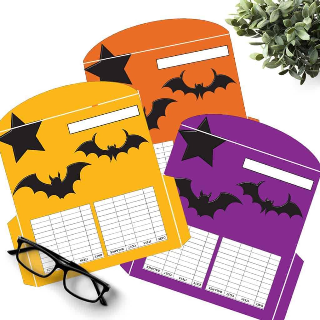 3 Bats and Star Halloween Cash Envelopes in orange, purple and orange