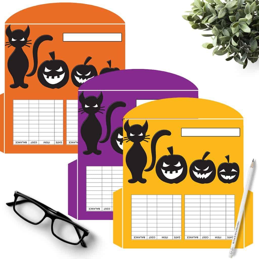 3 Cat and jack-o-lanterns Cash Envelopes in purple, yellow, orange.