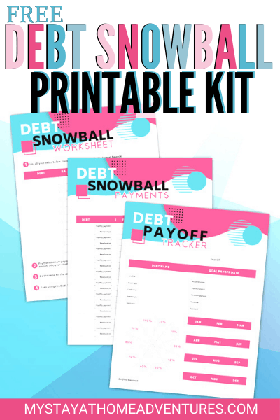 Start your financial journey the right way. Eliminate debt with these free debt snowball printable kit that contains three printables to get you started. #frugalliving #debtfreedom #financialfreedom #daveramsey via @mystayathome