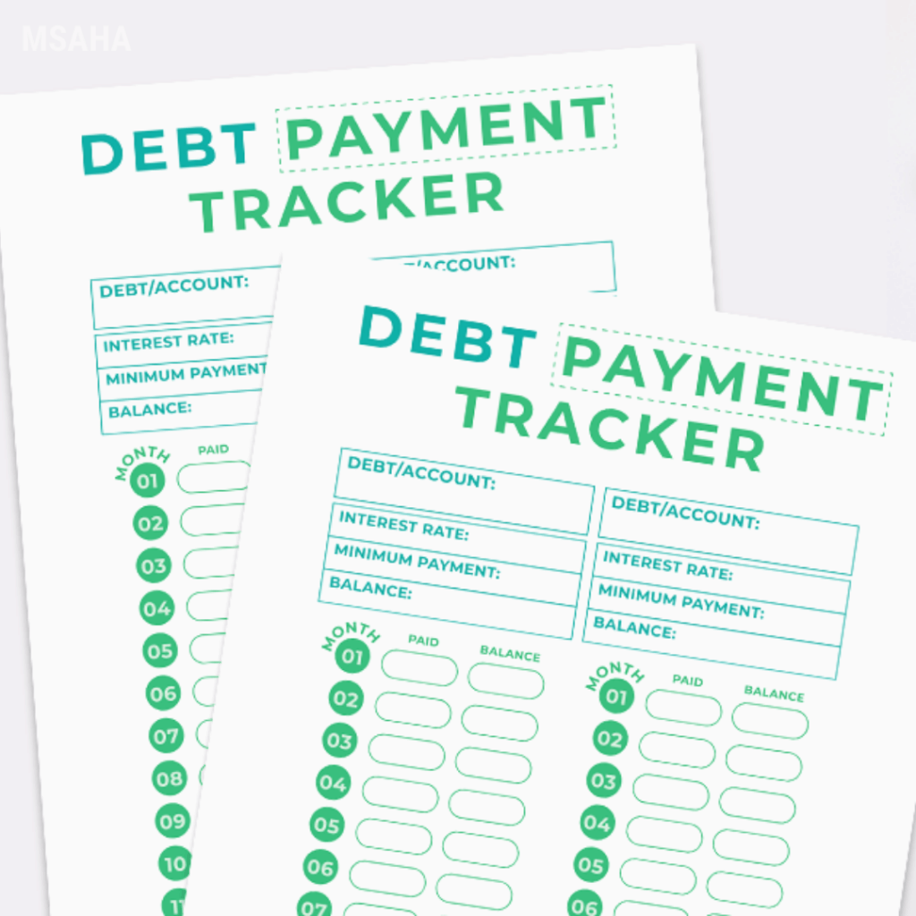 This is a picture of Debt Tracker Printable with visual