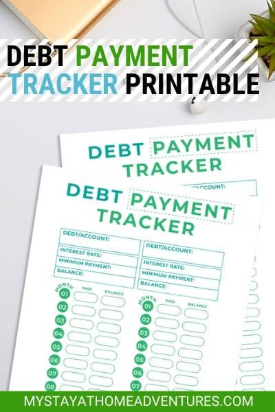 Get inspired and monitor your debt with this free debt tracker printable. Download this payment tracker and more, and start your debt-free journey. #freebie #freebieFriday #debtpaymenttracker #freeprintable via @mystayathome