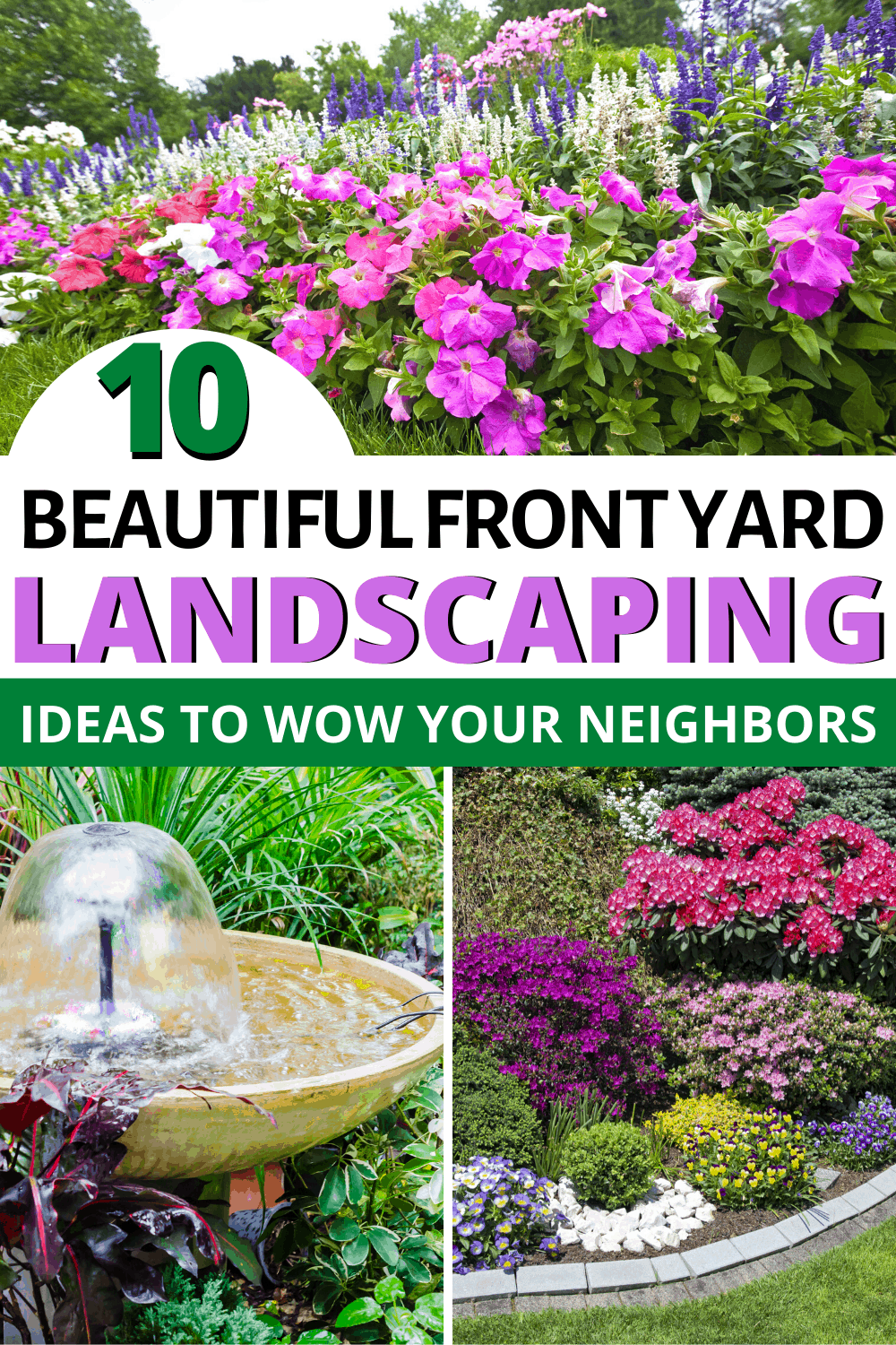 Does your front yard need a makeover? Need a little better curb appeal? Check out these 10 beautiful front yard landscaping ideas to help you out! via @mystayathome