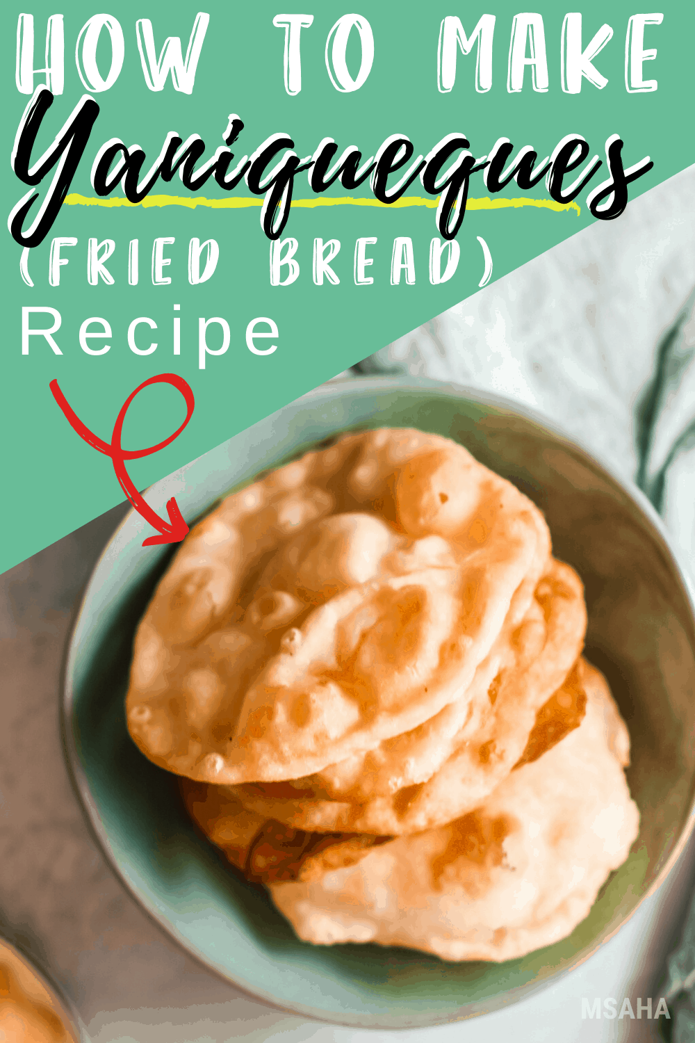 Yaniqueques are a type of fried bread enjoyed by many Latinos and served with bacalao and beans. These are so easy to make, flaky and delicious! #friedbread #yaniqueques #friedfood via @mystayathome