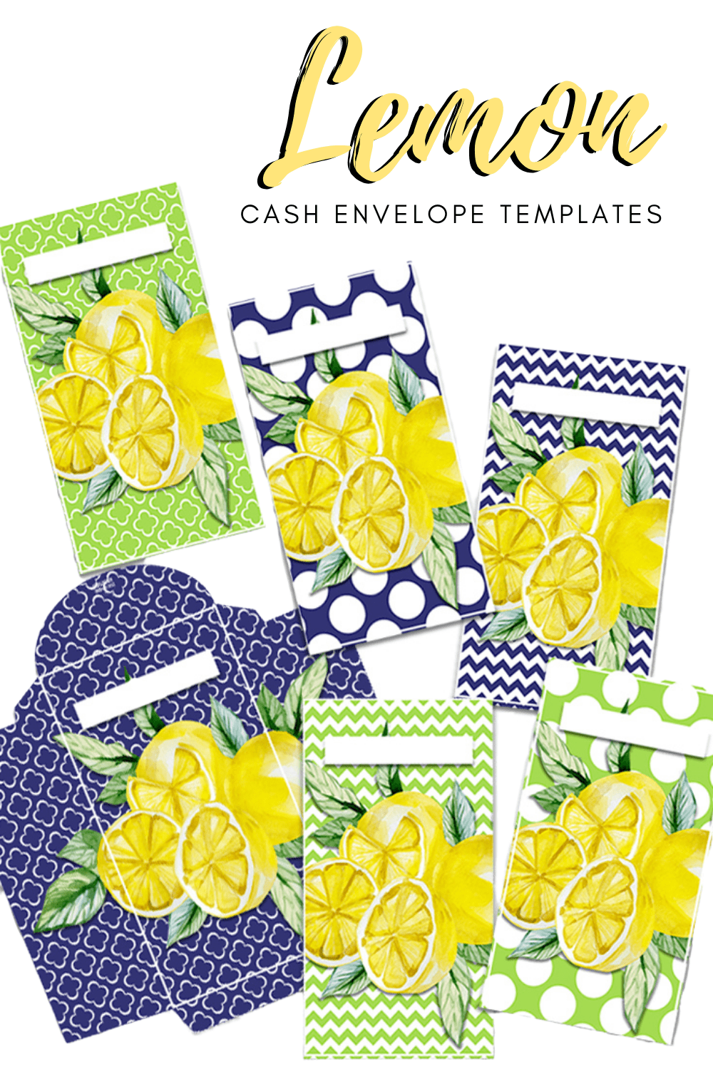 Hurry and grab these gorgeous Yellow Lemon Cash Envelopes printables today. Cash envelopes that will fit your Luxe and Filofax wallets. #printables #cashbudgeting #cashenvelopetemplates via @mystayathome