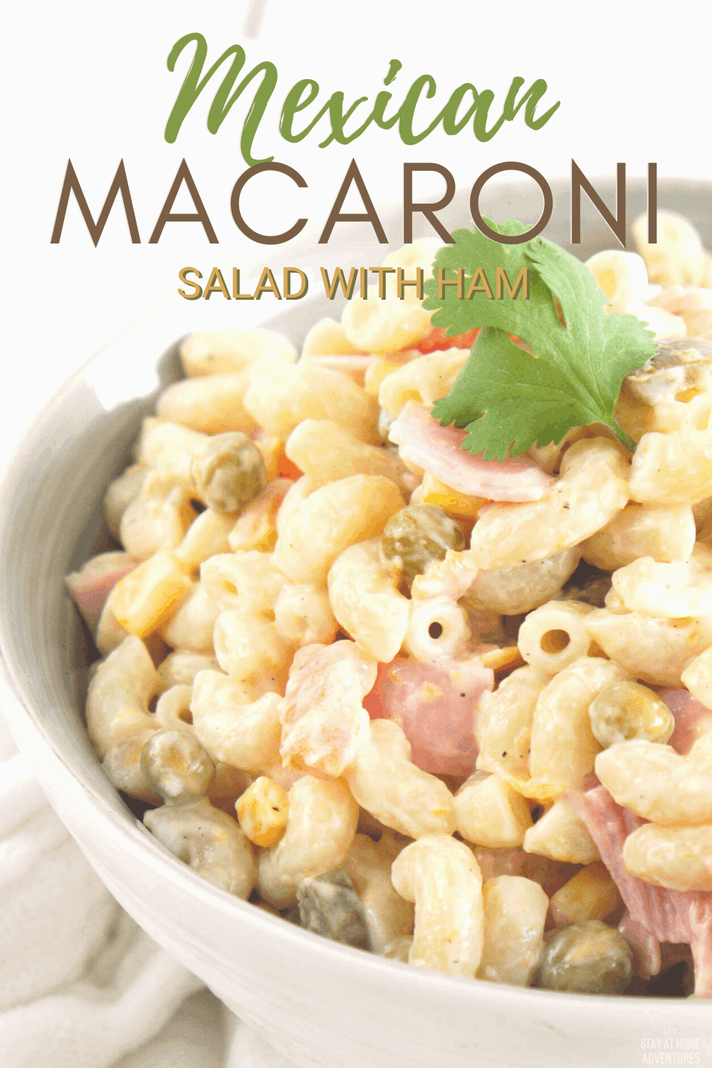 Mexican Macaroni Salad recipe it's an authentic, simple and flavorful pasta dish that comes together with ingredients you probably already have in your kitchen. Serve as a light main dish or as a side dish. #mexicanrecipe #pastasalad via @mystayathome