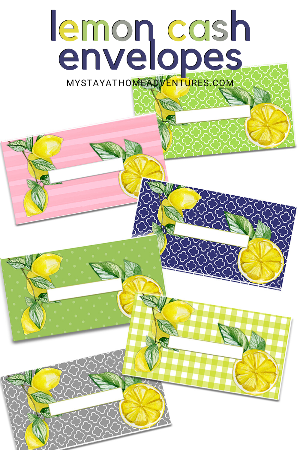 Hurry and grab these lemon cash envelopes printables just in time for summer. The printable package comes with 6 styles of cash envelopes (jpeg) and one pdf. #cashenvelopes #cashenvelopetemplates #cashbudgeting via @mystayathome