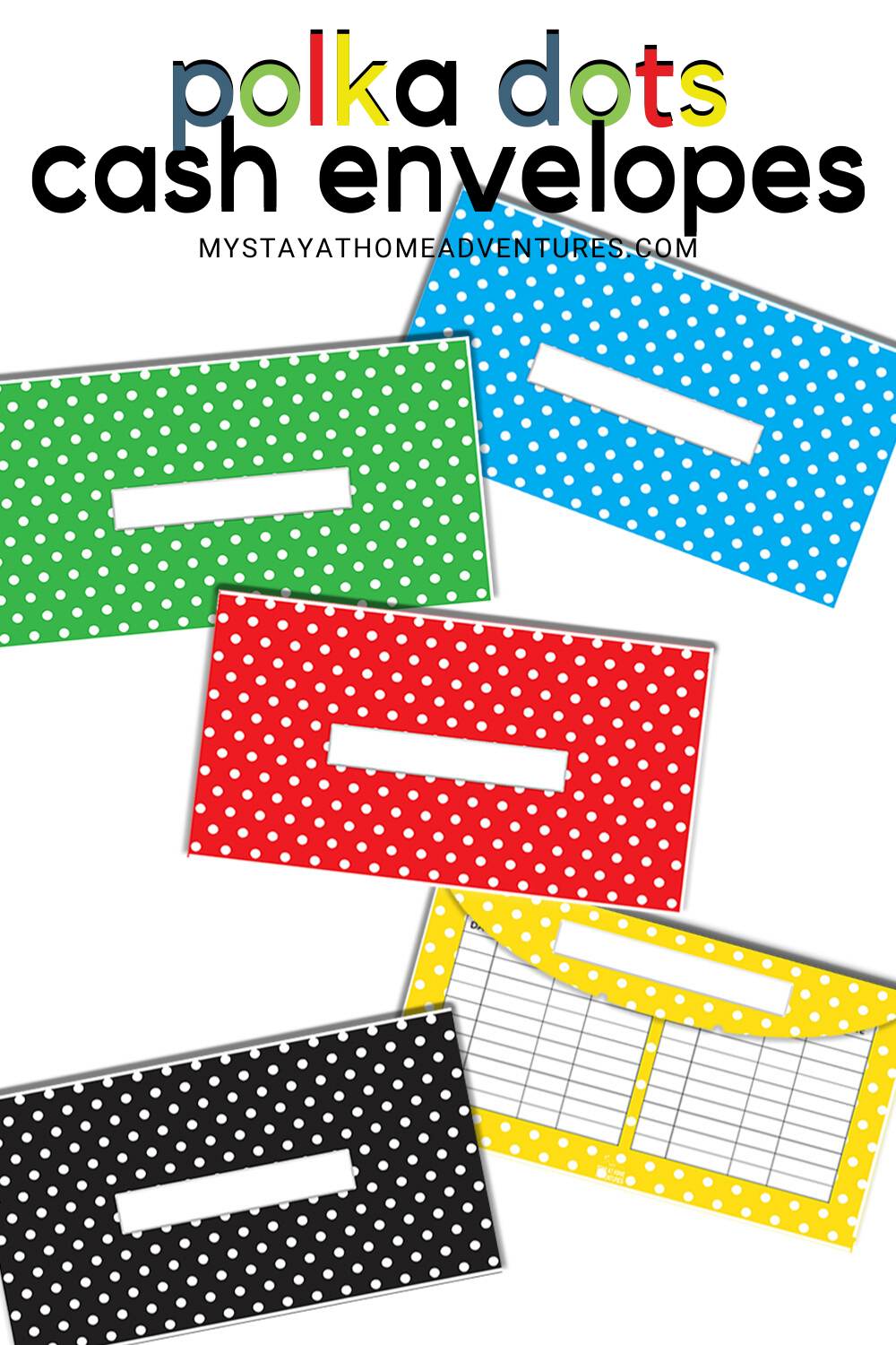 Cash budgeting doesn't have to be dull. Use these Polka Dots Cash Envelopes to keep your cash organized and easy to track. Horizontal and Vertical available. #cashbudgeting #cashenvelopetemplates #cashenvelopes #cashenvelopeprintables via @mystayathome