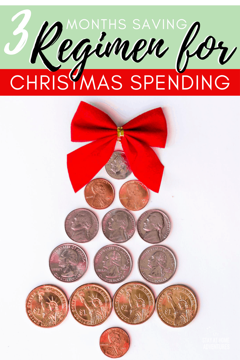 Are you saving for Christmas? Follow our 3 months saving regimen for Christmas spending with these 8 steps to achieve realistic Christmas saving goals. via @mystayathome