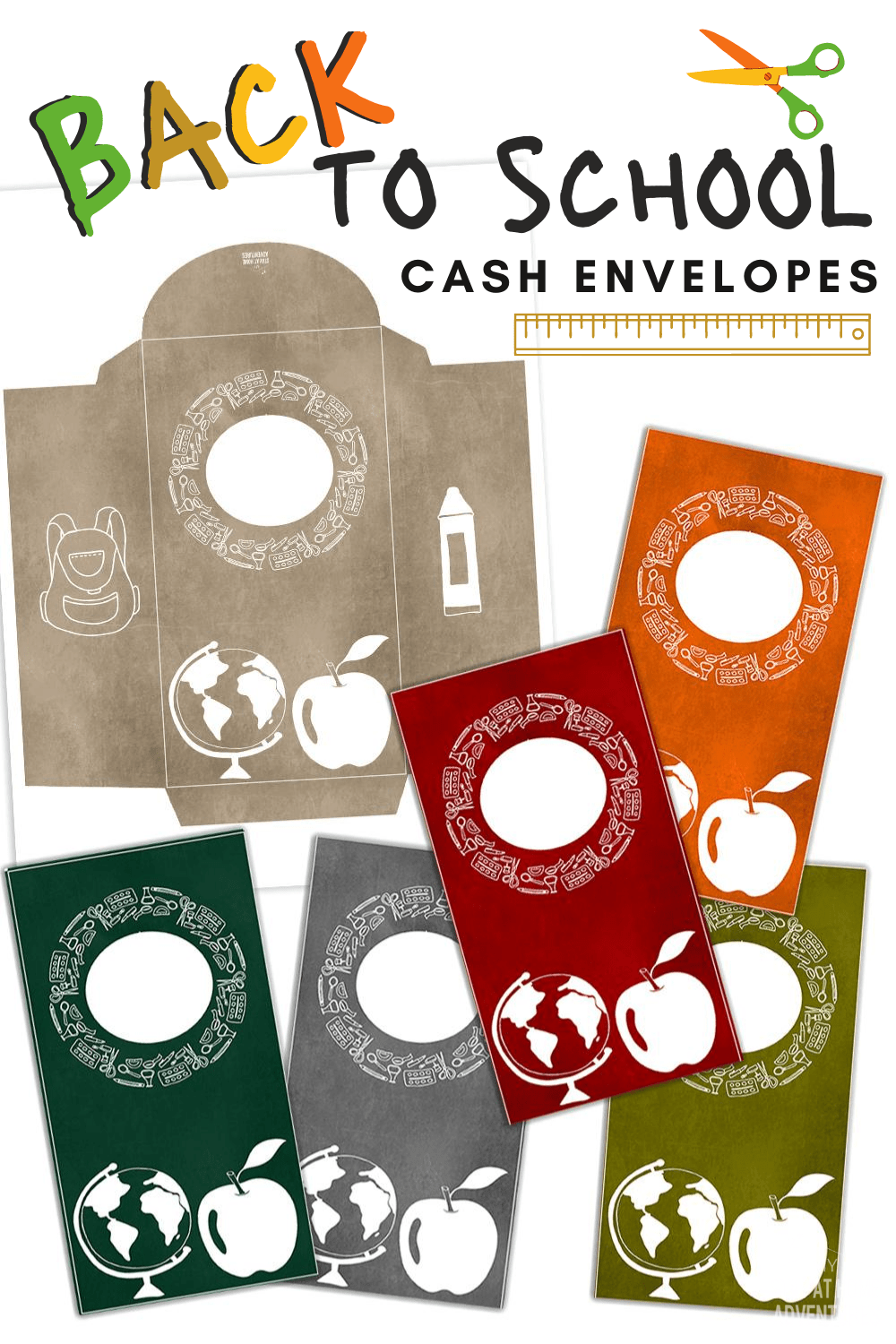 Cash budgeting doesn't have to be boring! Back to School cash envelopes are colorful and comes in two styles: horizontal cash envelopes and vertical envelopes. #cashenvelopes #cashenvelopeprintables #cashbudgeting via @mystayathome