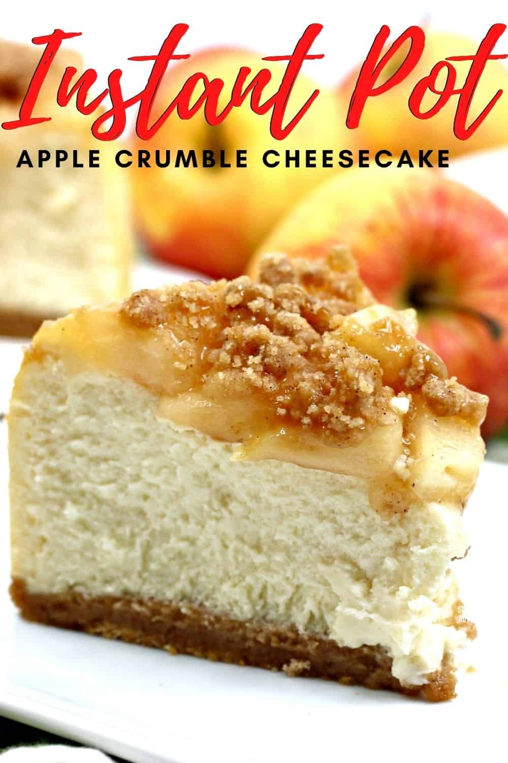The best of both worlds, apple crumble and cheesecake made using an Instant Pot. Learn how to create this recipe in minutes. #instantpot #cheesecake #apple via @mystayathome
