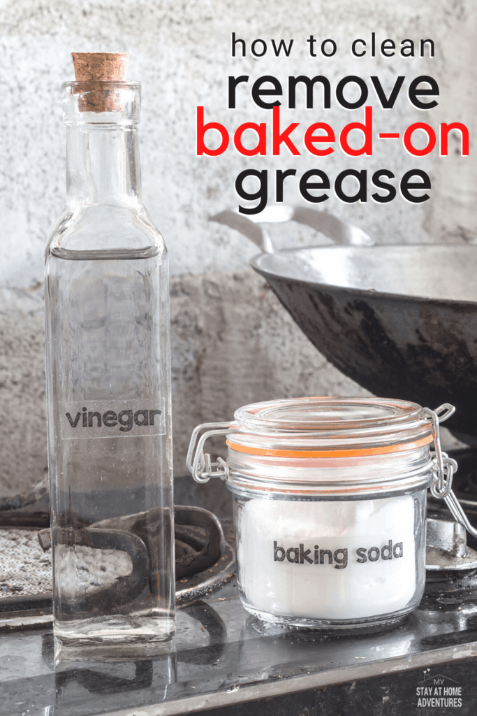 Learn two effective ways to clean baked-on grease from your stove that are fast and effective and will keep your stove looking clean. #cleanstove #cleaningtips #howto