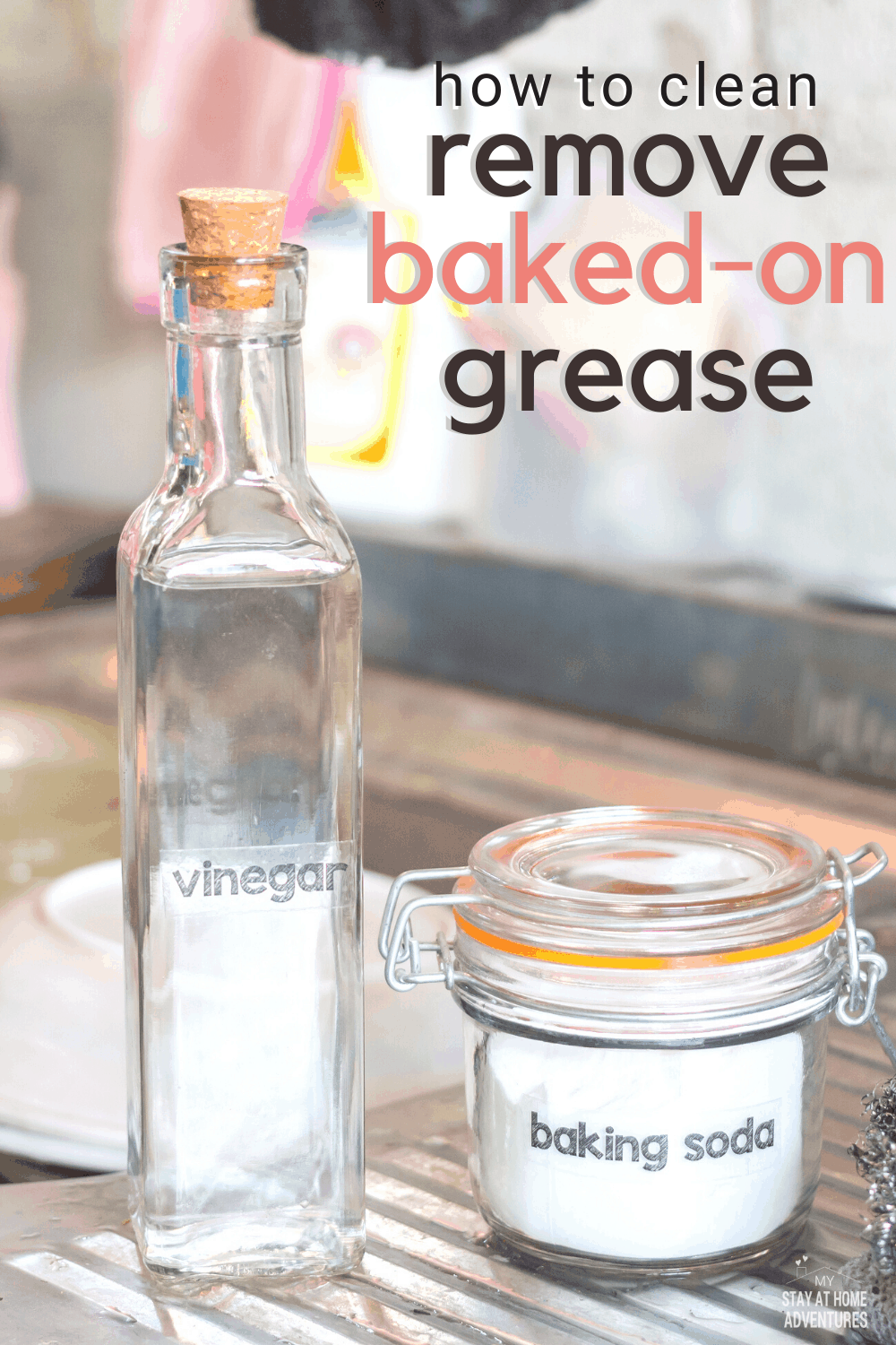 Learn two effective ways to clean baked-on grease from your stove that are fast and effective and will keep your stove looking clean. #cleanstove #cleaningtips #howto via @mystayathome
