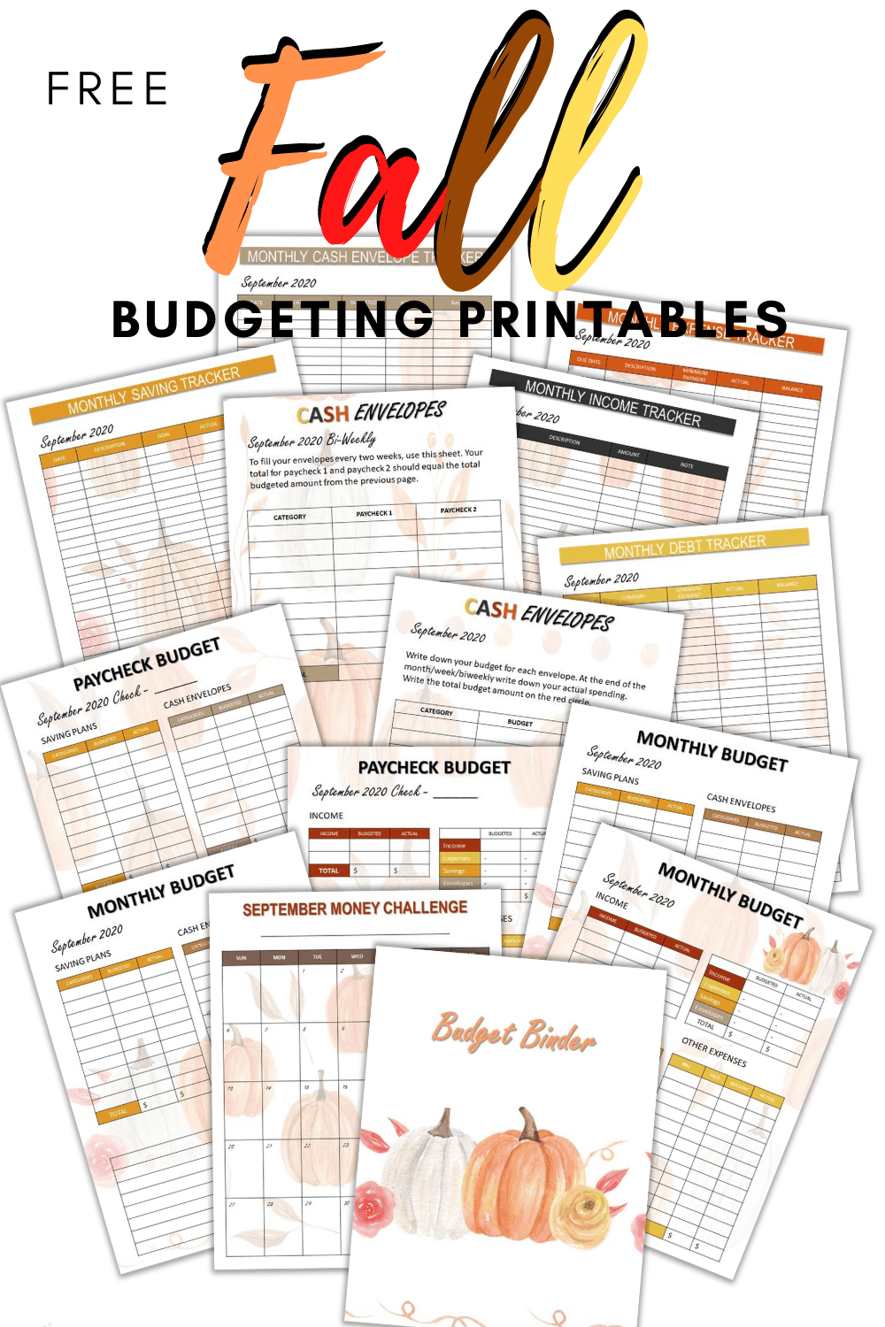 Get your free 2020 September Monthly Budget Printable today. Over 10 pages with beautiful fall designs to help you get your finances under control. via @mystayathome