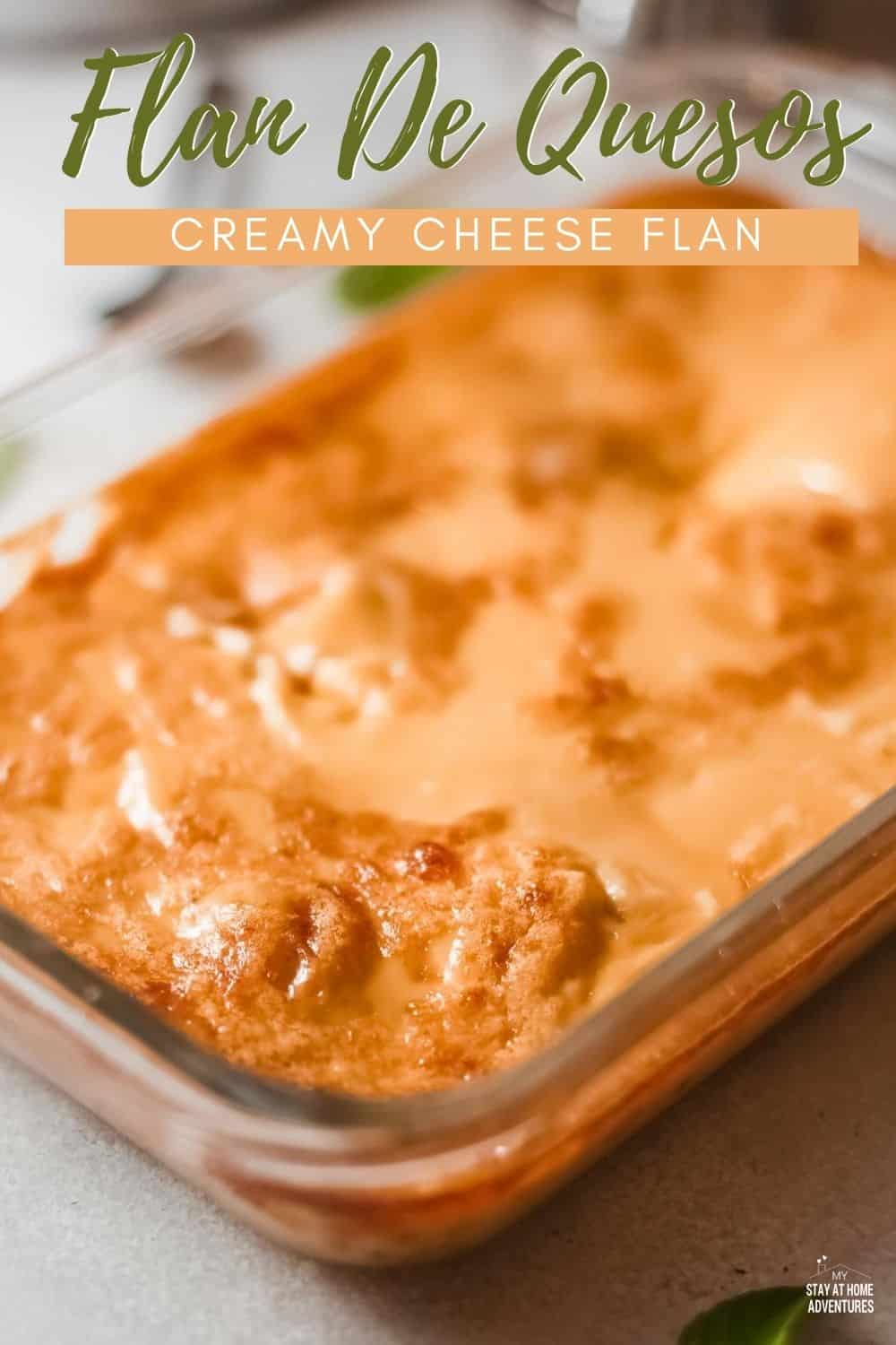Looking for a delicious, decadent dessert? Flan de queso is a spin on the traditional flan recipe that incorporates cream cheese into the recipe. via @mystayathome