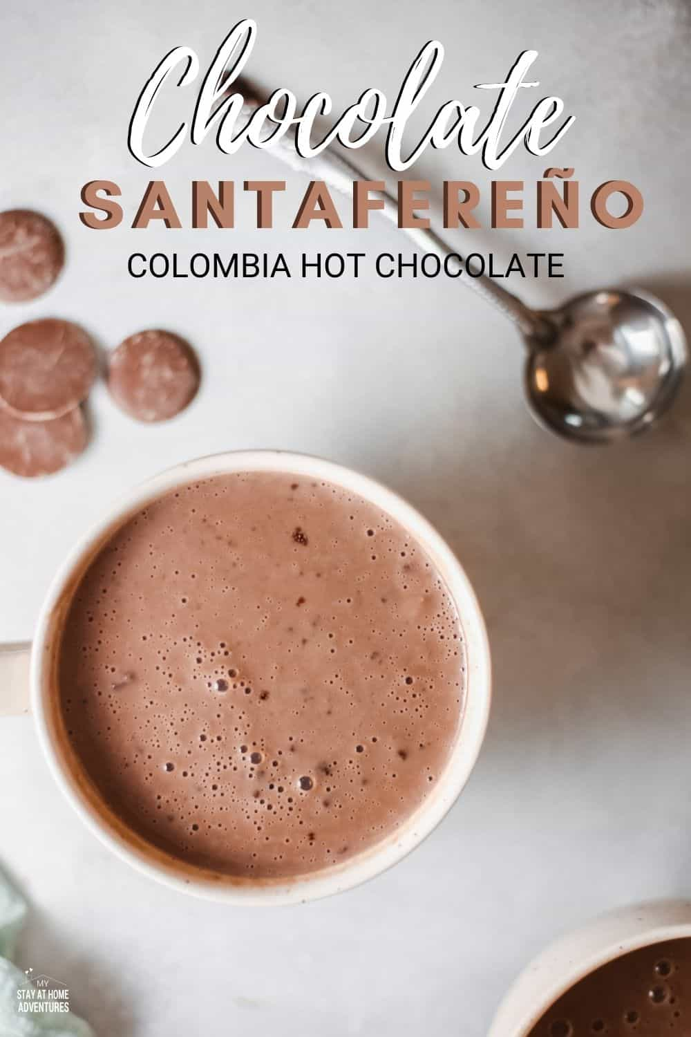 Chocolate Santafereño is a Colombian hot chocolate with the wonderful addition of warm spices, such as cinnamon and clove. via @mystayathome