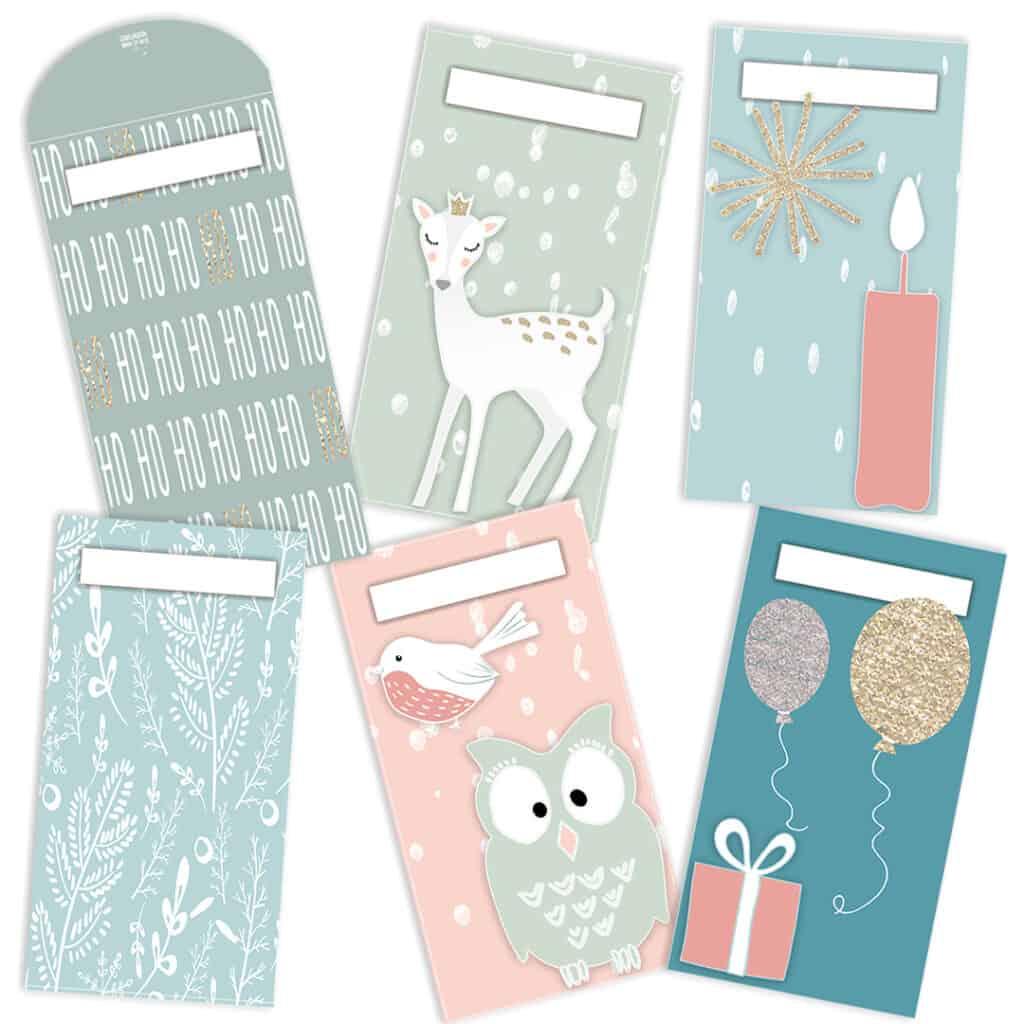 Printable Cash Envelope Christmas Winter set of 5