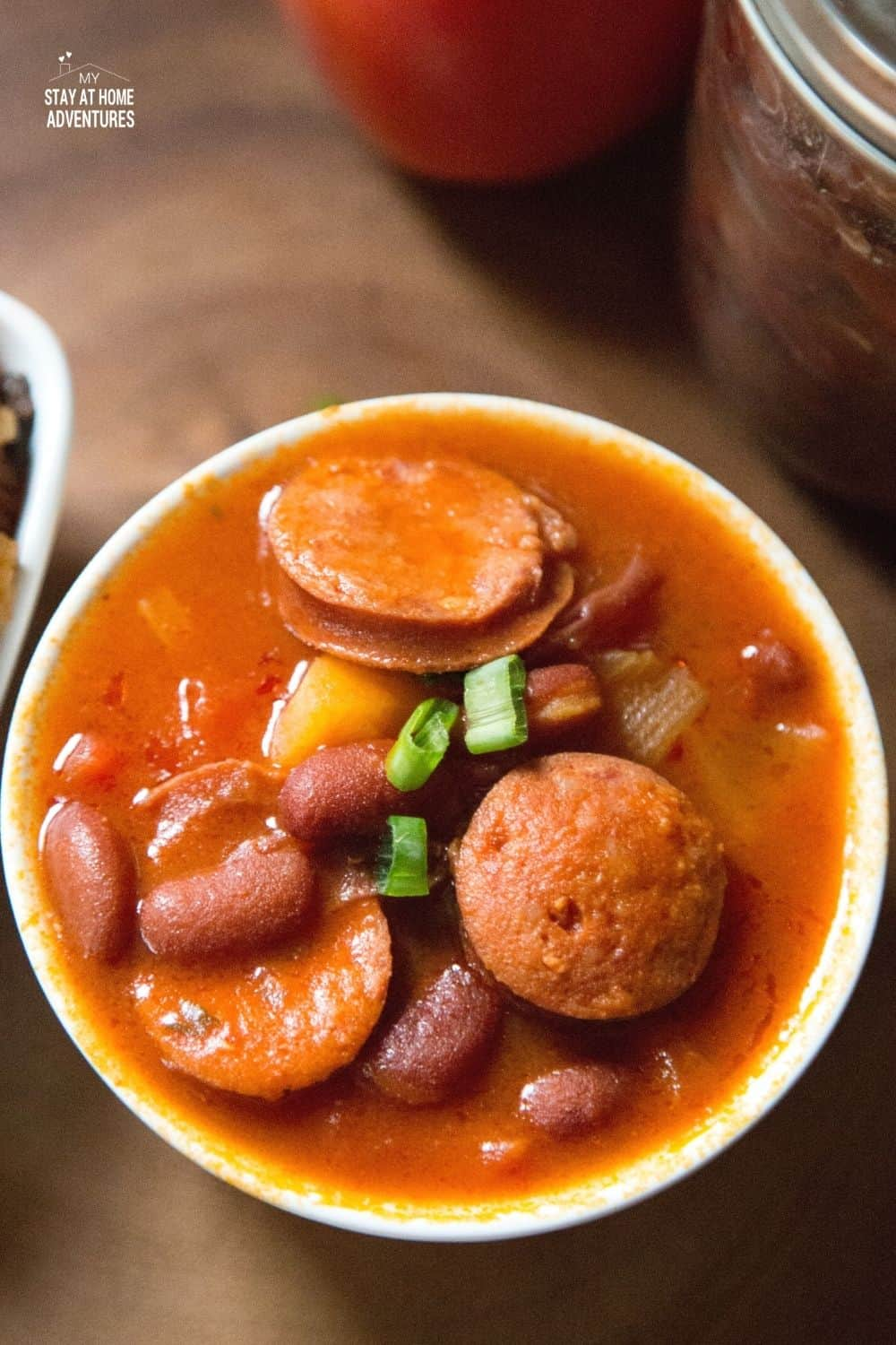 You can enjoy this Puerto Rican Stewed Beans with Sausage in no time by creating it using a rice cooker. Dump and Go recipe. #puertoricanfood #ricecookerrecipe #dumpandgorecipe #beanrecipe via @mystayathome