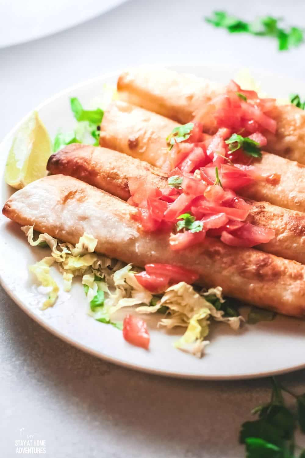 Learn how to create these mouthwatering Rolled Tacos (Taquitos) made with chicken breast and freezer-friendly. #rolledtacos #taquitos via @mystayathome