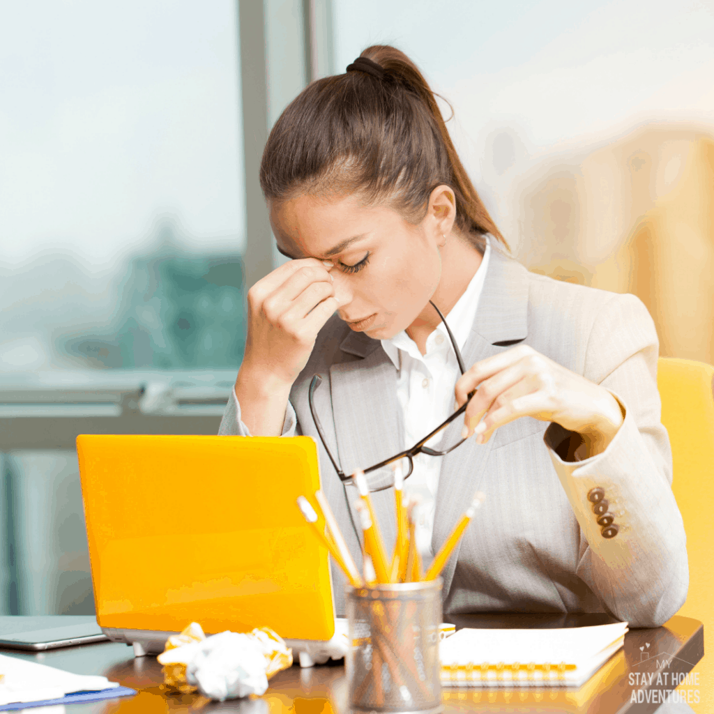 stressed business woman working on  a laptop