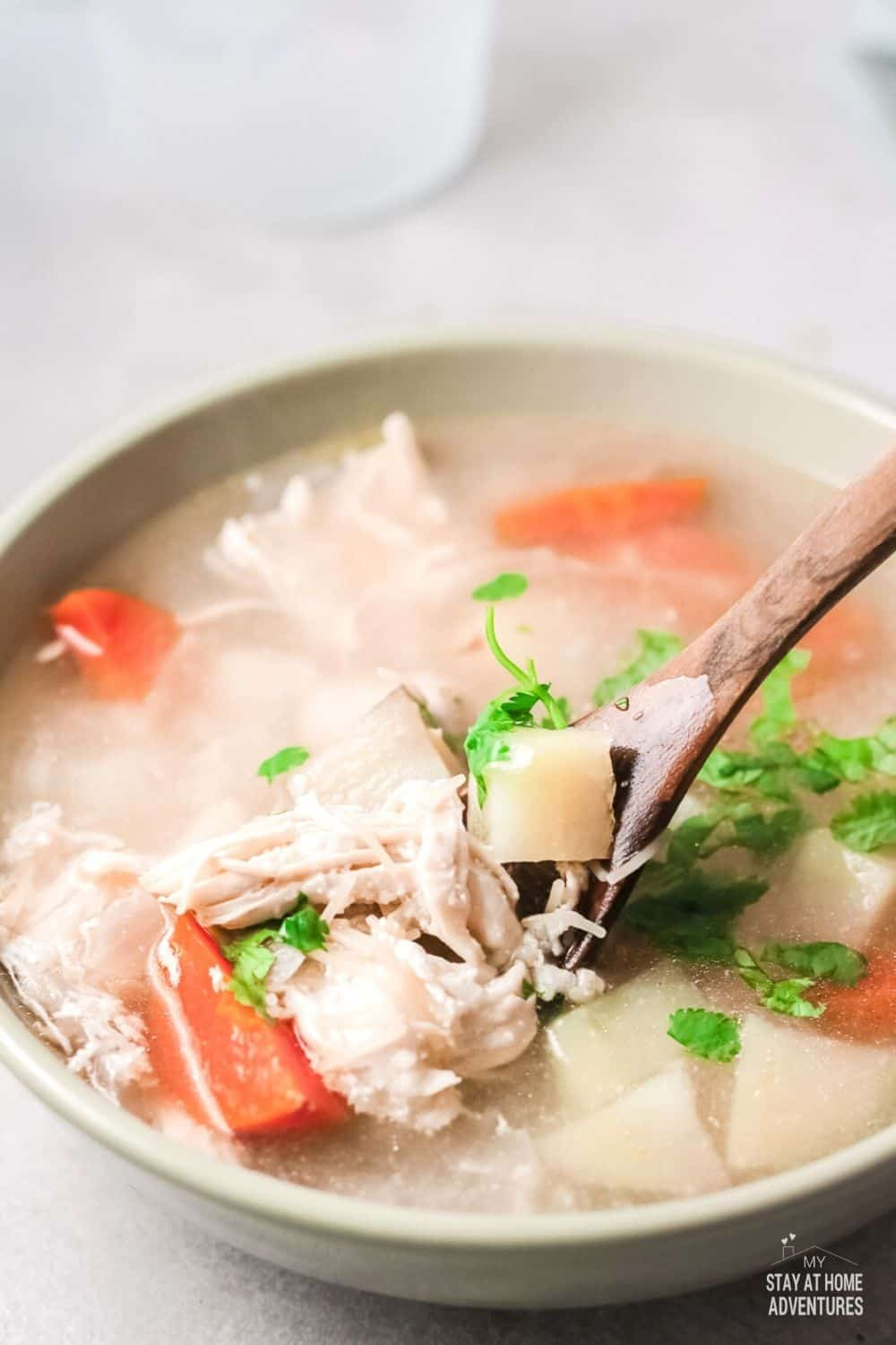 Sopa de Pollo, a hearty soup on a cold winter's night. A soup so simple and clean you can make now and freeze for later. via @mystayathome