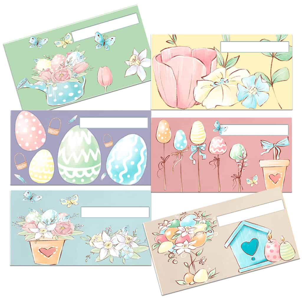 photo of 6 Easter theme cash envelopes