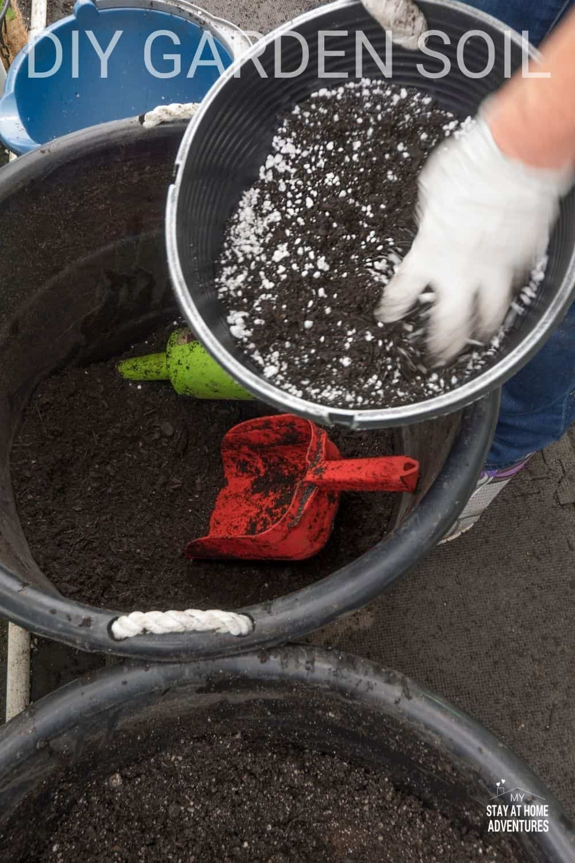 DIY garden soil is super easy to make your own garden soil. Homemade garden soil can also be more affordable. #gardensoil #diygardensoil #howto #gardening via @mystayathome