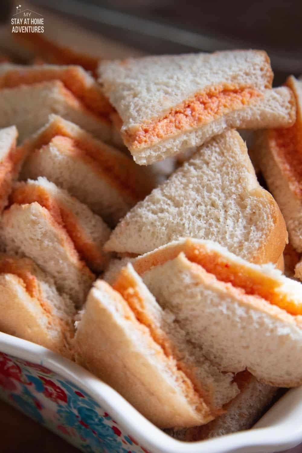Sandwich de Mezcla is a popular Puerto Rican sandwich that is traditionally made with white sliced bread. They are always served at their parties. via @mystayathome