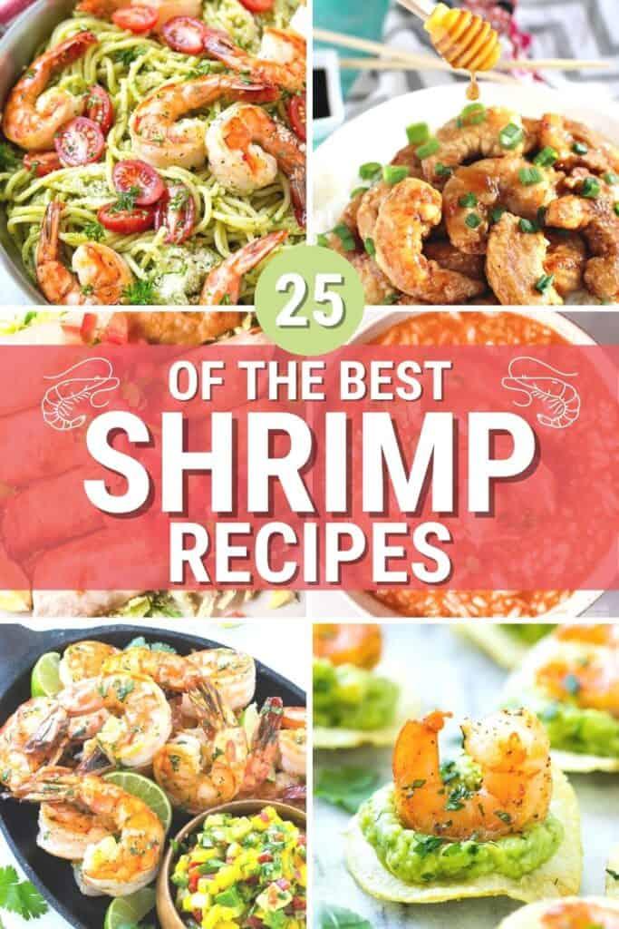 a collage of 6 shrimp dinner photos