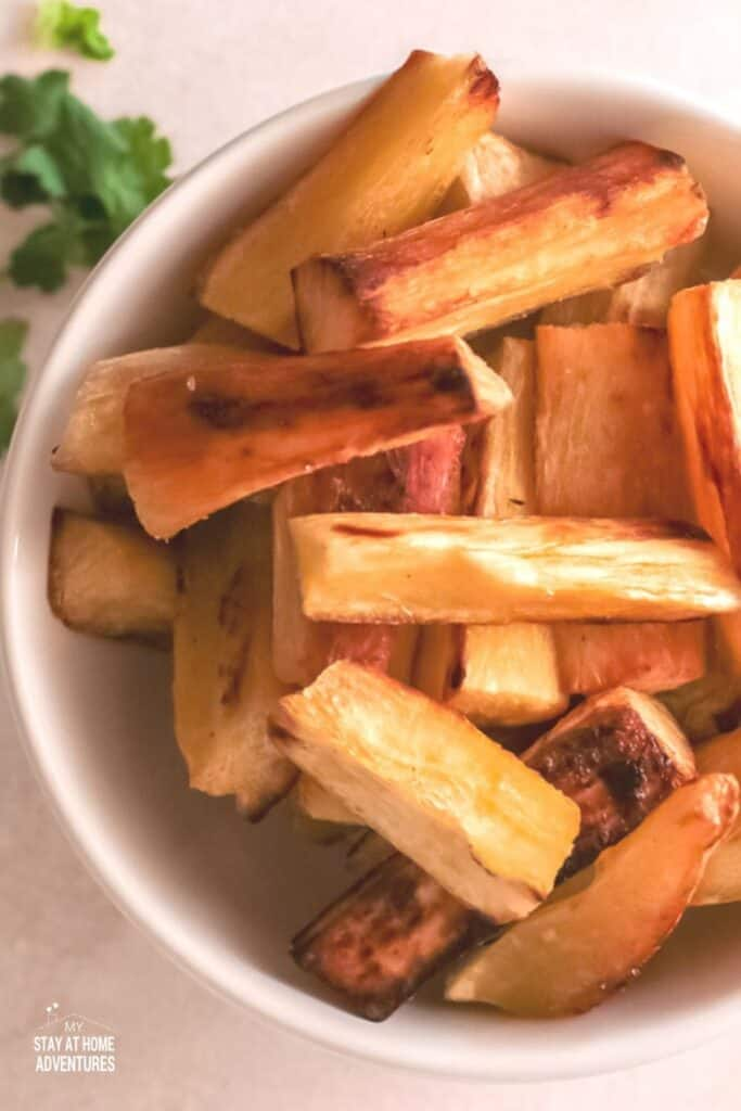 yuca fries in a white bowl