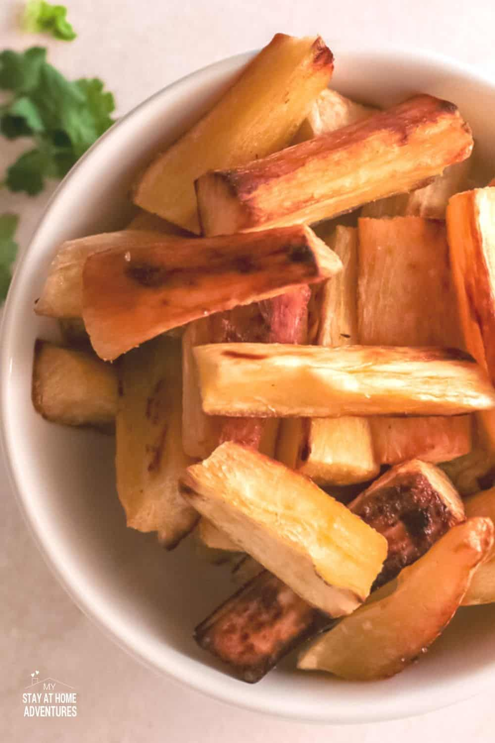 With only 3 ingredients, baked to crispiness on the outside and tender on the inside, this Yuca Fries is the perfect hearty snack. via @mystayathome