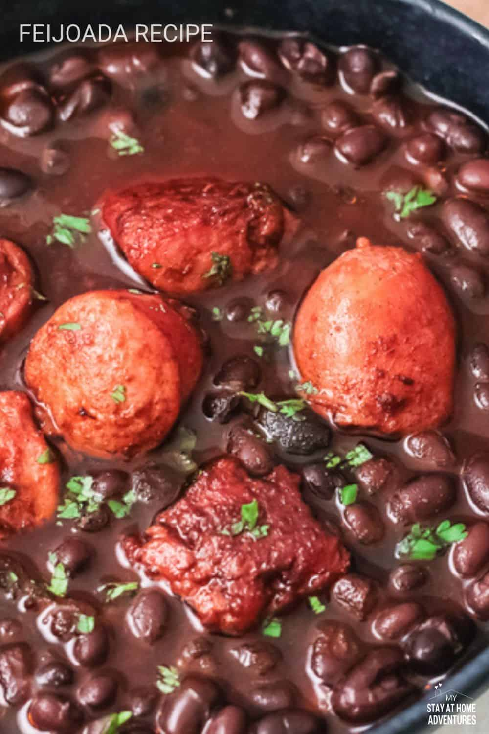 This feijoada recipe is a traditional dish served in Brazil, Portugal, and Angola. It's known for being a hearty stew that usually includes black beans, meat (usually beef or pork), bacon, sausage, rice with manioc flour, and vegetables. via @mystayathome